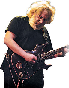 Jerry Garcia with the Cripe-built guitar called Lightning Bolt
