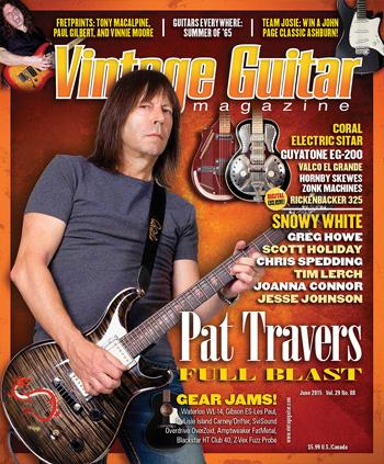 Vintage Guitar magazine June 2015 featuring Pat Travers and Snowy White