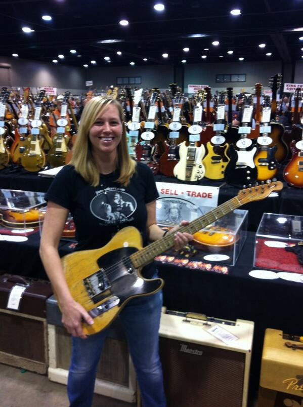 Cathy from Jim's Guitars with one of Danny Gatton's Telecasters.