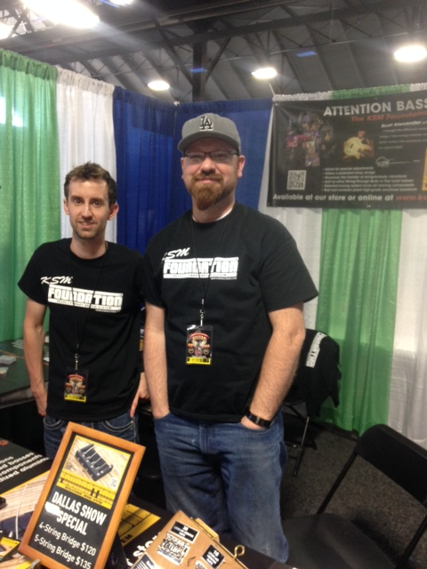 Chris Hampton and Spencer Jones from the KSM Guitars booth.