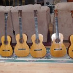 Six pre-Civil War Martin guitars. From left to right, 1845 3-17, 1850 3-17, 1847 1-20, 1850 1-17, 1855 1-26, 1860 2-20. All guitars are used for public performances.