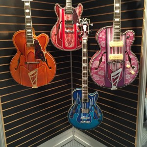 The details on the D'Angelico Guitars Art Deco Series are not to be missed! Custom painted by select #artists, only 14 of these #guitars are made and the given exclusively to top #dangelicoguitars dealers. #VintageGuitar #NAMM2015 #NAMM15 #NAMMshow #guitarlove — in Anaheim, California.