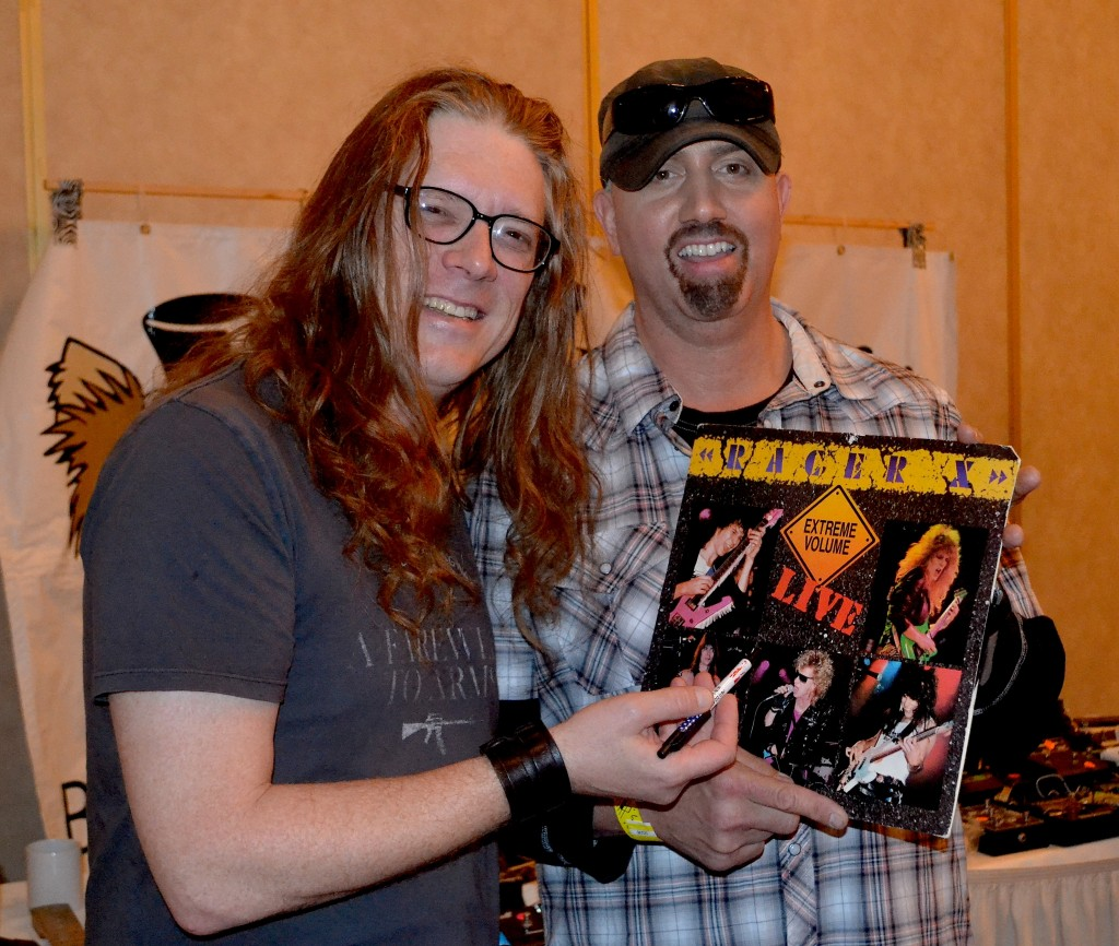 Former Racer X guitarist Bruce Bouillet (left) meets fan Louie Concotiloi, of Mugsy Music.