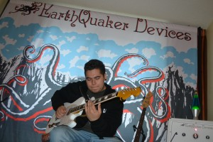 Guitarist Jeremy Juarez jamming at EarthQuaker Devices.