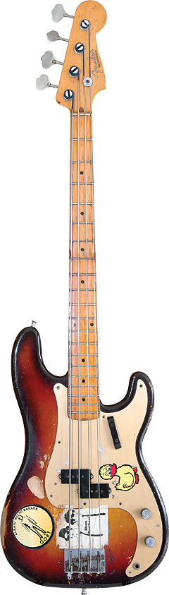 "Dunn's 1958 Precision Bass. ""I usually held my thumb on the top edge of the pickguard and played with my first two fingers, and I wore the finish down to the wood where my thumb was,"" Dunn told VG in 2006."