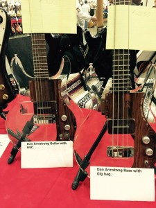 Anyone want a set of Ampeg Dan Armstrong models? #ocguitarshow #vintageguitar — in Costa Mesa, California.