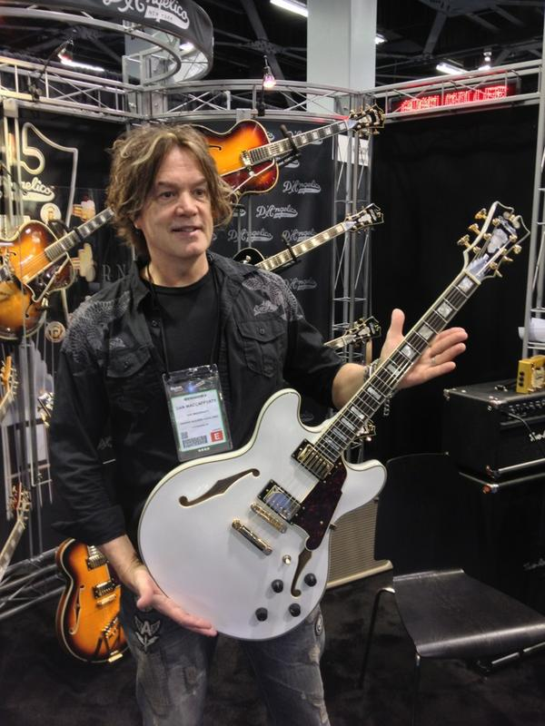 Dan MacCafforty at the D'Angelico Reborn booth.