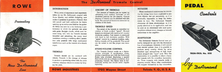1955 DeArmond Tremolo Control brochure. Brochure images courtesy of Ben Cheevers.