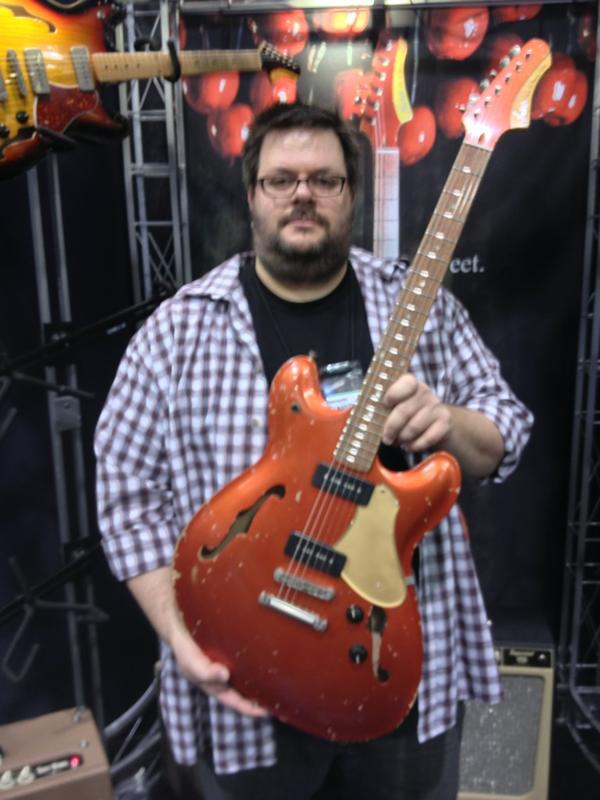 Dennnis Fano, Fano Guitars, at the Premier Builders Guild booth.