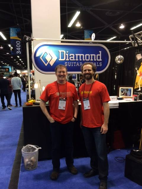 Diamond Guitar Pedals' Aimish Wallace (left) and Mike Knappe.