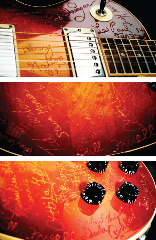 "Les Paul was the first guest on ""The Guitar Show,"" and the first to engrave his signature on Roebling's Les Paul."