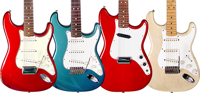'63 Stratocaster in Candy Apple Red. '64 Strat in Foam Green. '64 Musicmaster in Dakota Red. '59 Stratocaster in Mary Kaye dress.