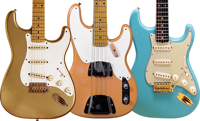 (LEFT) 1958 Stratocaster with what could be anything from Buick's 1952 Aztec Gold to Cadillac's '55 Goddess Gold. (RIGHT) This Precision Bass is a color called Pompano Peach, a 1955 Plymouth color from the Beach Series (along with Miami Blue, Orlando Ivory, and Sarasota Sand). Daphne Blue is one of the many colors borrowed from Cadillac – here on a '63 Strat with gold-plated parts. Fender Esquire: Jim Colclasure/Kathy Ketner. Fender Precision: John Sprung.
