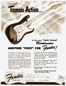 "This 1954 ad produced by Fender rightfully boasted of the many new design elements of the Stratocaster, including the first application of the term ""tremolo"" for its vibrato tailpiece."