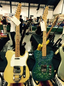 A pair of '68 Fender Guitar Teles can be yours if you're near the #ocguitarshow! #vintageguitar #tele #Fender — in Costa Mesa, California.