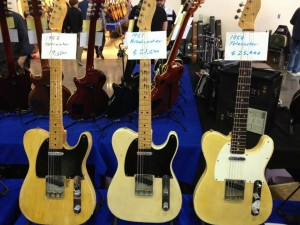 A trio of classics from Fender Guitar - '53 Tele, '51 #Broadcaster and a '59 #Tele from the #ocguitarshow. #vintageguitar #Fender — in Costa Mesa, California.