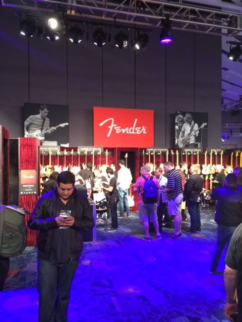 The calm before the storm in the Fender Guitar booth.