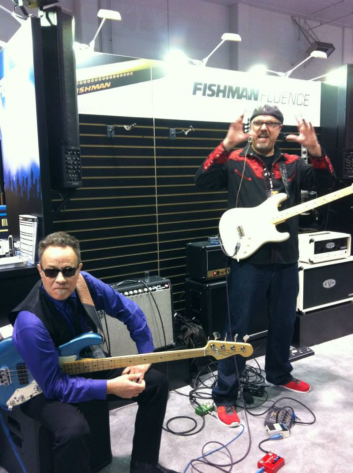 Roscoe Beck (left) and Greg Koch at the Fishman booth.