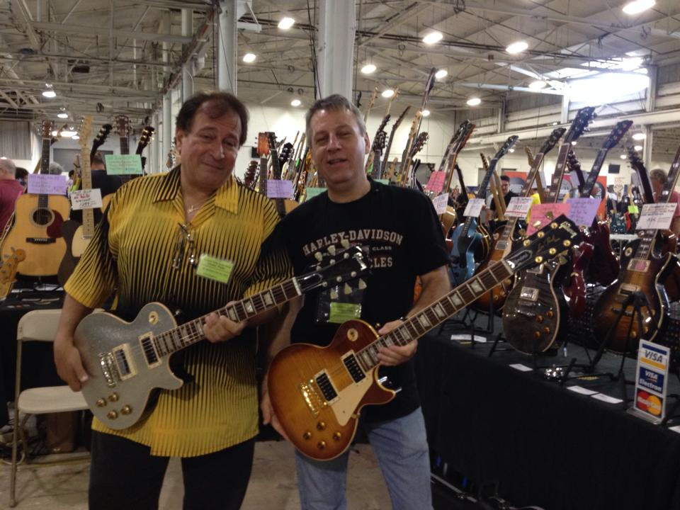 Frankie Beatrice from First Fret Guitar Shoppe and John DeSilva from My Generation Guitars with a pair of Custom Shop Les Pauls.