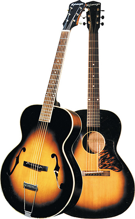 A Kalamazoo-branded archtop. Nearly identical guitars also received the Cromwell name. At right the Kalamazoo KG-14.