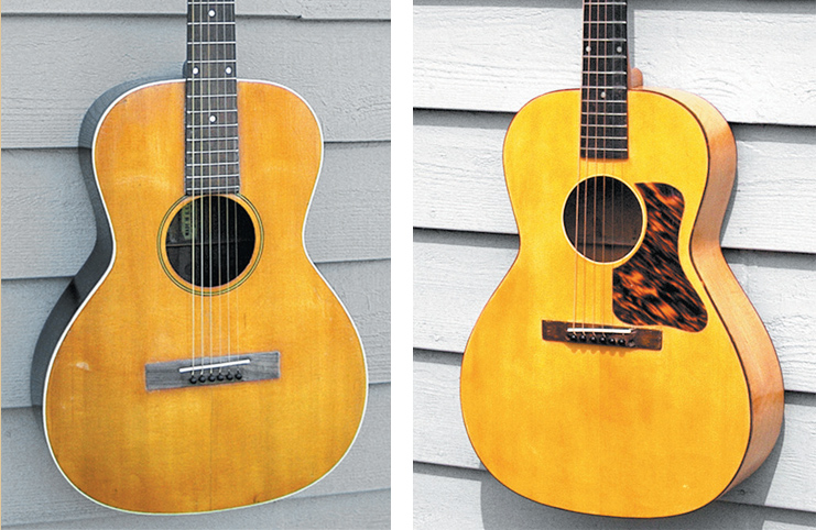 (LEFT)  An early-'30s flat-top, made by Gibson specifically for export.  (RIGHT)  The Kalamazoo KG-12 Oriole.