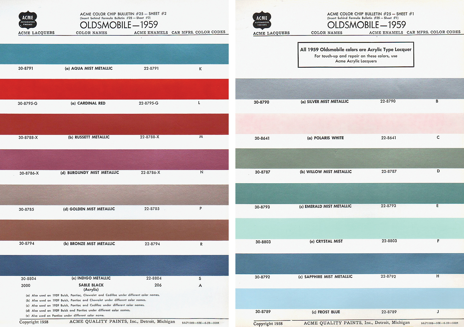 Gibson custom colors in the 1960s vintage guitar magazine the 59 oldsmobile colors were widely used by gibson as seen in these charts listing silver mist polaris white frost blue cardinal red and golden mist nvjuhfo Choice Image