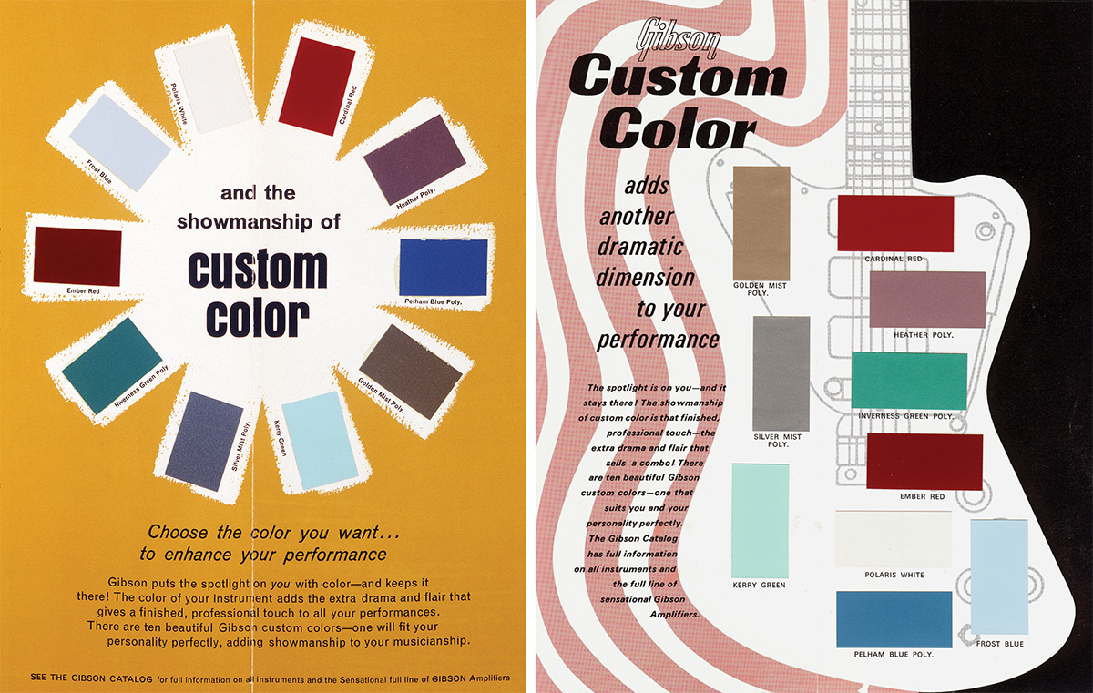 left gibsons first custom color chart was released in 1963 coinciding with the inception of the firebird series right the design of firebird guitars