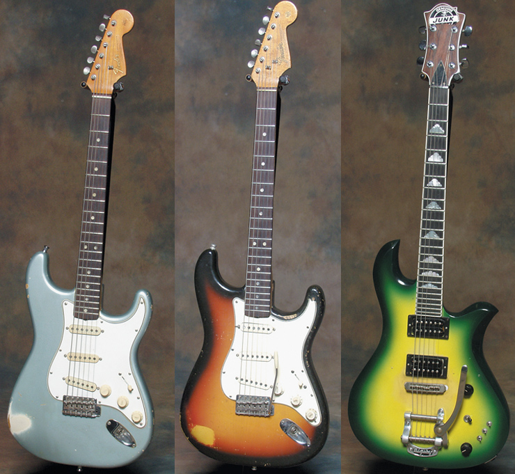 "(LEFT TO RIGHT) A ""transition logo"" (late '65/'66) Fender Stratocaster in Ice Blue Metallic.  One of Giraldo's primary axes from his early days with Pat Benatar was this sunburst 1964 Fender Stratocaster.  Giraldo's second BC Rich Eagle I, in green sunburst."
