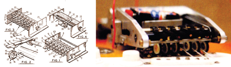 (LEFT) Patent drawing showing the Gizmotron's parts. (RIGHT) The original Gizmotron prototype in 1976-'77. Gizmotron prototype: courtesy of Mike Beigel.