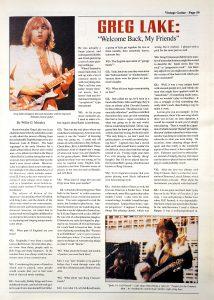 Greg Lake Vintage Guitar magazine May 1994 Page 1