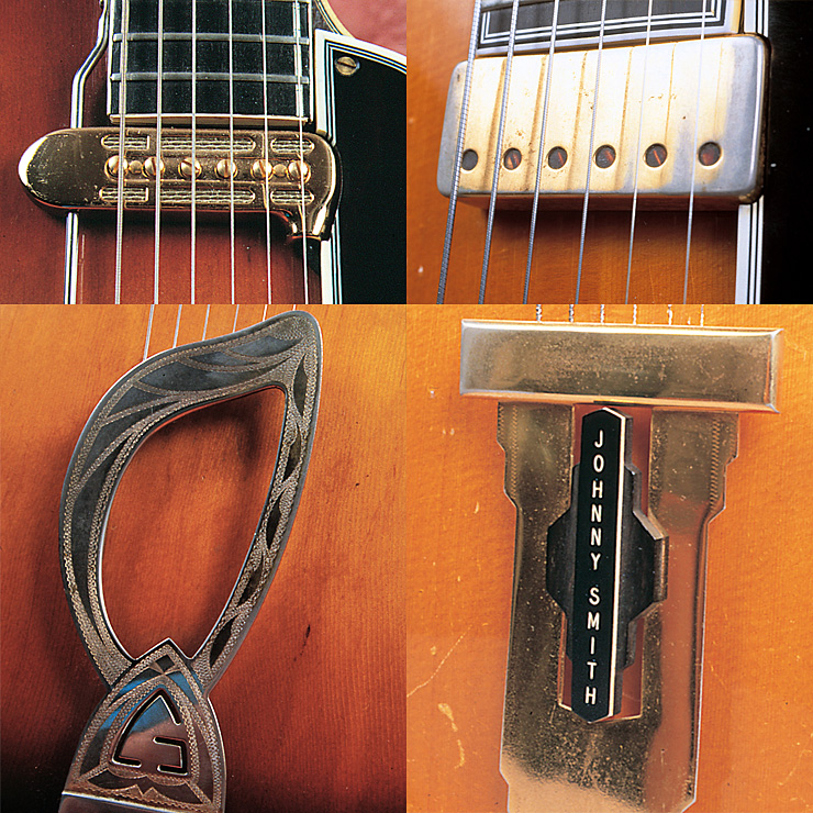 The harped-shaped gold-plated Guild tailpiece contrasts the plated Gibson with the engraved vertical name plate. The Gibson has a mini-humbucking pickup and the Guild features a DeArmond pickup; both float free of the top.