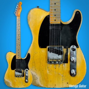 This is Danny Gatton's 1953 Fender Telecaster. Danny installed the Joe Barden pickups and also had Willie Nelson and Roger Miller sign the top. The guitar was displayed by Heritage Auctions.
