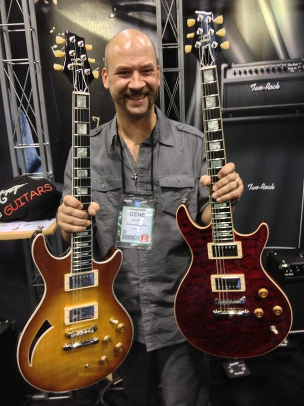 Gene Baker, b3 Guitars, at the Premier Builders Guild booth.