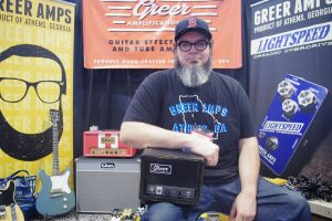 Nick Greer with his hand-built amps and pedals.