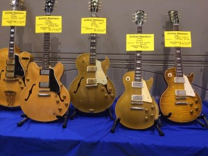 Guitar Maniacs brought many great Gibsons to Guitarlington 2015, including this '57 ES-5, '58 ES-335, '58 ES-295, '58 Les Paul goldtop, and a 2001 Les Paul '59 Historic. Dang!
