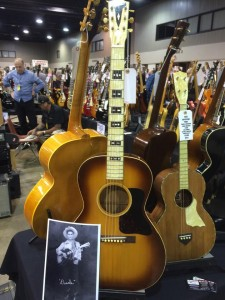 "Gary Hernandez is displaying this 1933 Gibson L-C ""Century of Progress"" at his Guitars West booth. The L-C features curly maple back and sides and a pearloid fingerboard and headstock.."