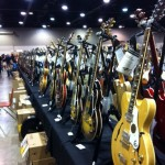 Guitars as far as the eye can see. Fuller's Vintage Guitar booth.