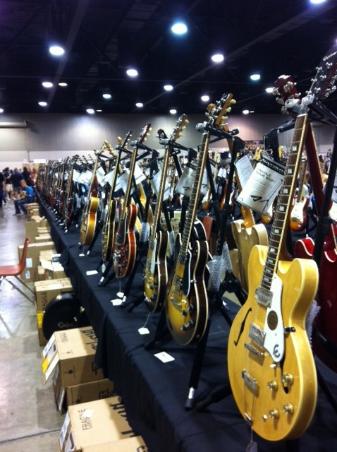 Guitars as far as the eye can see. Fuller&#039;s Vintage Guitar booth.