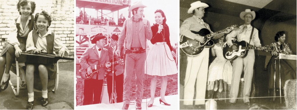 "Hall (sitting) with her sister, Joanie – the Saddle Sweethearts.  Hall with Merle Travis and Joe Maphis on the set at ""Town Hall Party.""  Hall in the early 1970s with actor Doug McClure, at a state fair perfomance."