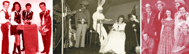 "(LEFT TO RIGHT) Hall in the 1970s with Randy Price and the Jubilaires. The ""Town Hall Party"" band during a special Halloween show.  6 Hall's first album was titled First Star. Hall with a portion of the nearly 30 members of the Town Hall cast."