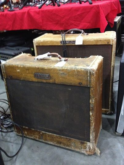 A couple road-worn Fender tweeds to go with the smoked Tele pictured earlier. What tales they could tell! A Bassman in back, Pro in front. From the Handlebar Guitars booth at the Orange County Guitar Show.