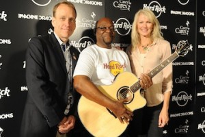 Hard Rock's John Galloway (left) with David Burton and PRS' Jeanne Nooney.