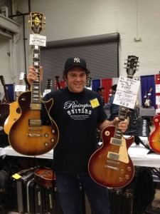 Howie Statland from Rivington Guitars with a pair of Les Pauls.