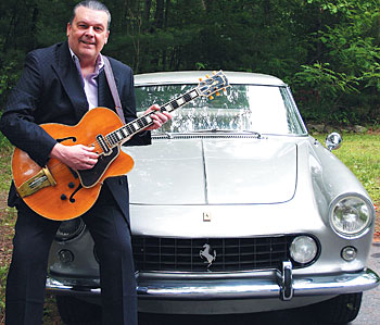Jay Geils with his 1936 Gibson ES-150 and 61 Ferrari 250 GTE &quot;2+2&quot;