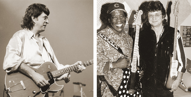 "(LEFT) Peterik plucks a Gibson ES-135 during a World Stage performance. (RIGHT) Buddy Guy and Jim Peterik in the latter's studio to record an R& B/blues version of ""Vehicle."" ES-135 Photo: Paul Thomas."