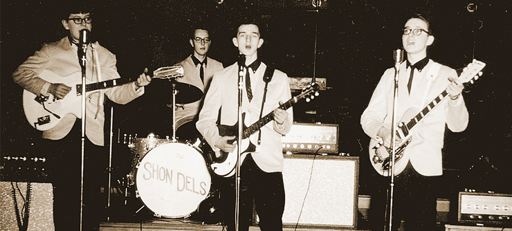 "Classic Cheese; an early-'60s photo of Peterik's first band, the Shon-Dels.  Jim's at left, with the Davoli/Wandre guitar.  Note the...uh...""matched set"" of Silvertone Twin Twelve amplifiers."