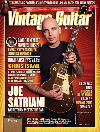 Vintage Guitar magazine from January 2012. All photos by Neil Zlozower