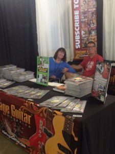 Gil and Janie Hembree at the freshly assembled VG booth at the 39th Annual Dallas Int'l Guitar Festival.