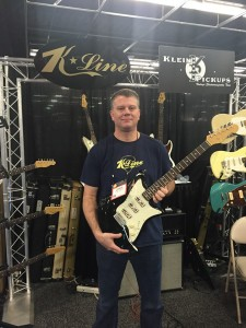 Chris from K-Line Guitars was kind enough to model the all new K-Line Guitar, featuring Klein pickups, for us at #NAMM2016.