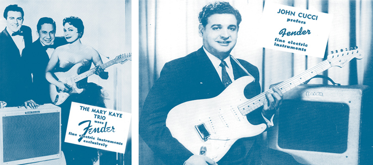 "LEFT TO RIGHT Fender's Custom Shop today re-creates the ""Mary Kaye"" Strat with its '56 NOS model. The Mary Kaye Strat Trio poses with a '56 Fender Stratocaster. Johnny Cucci with a Fender Stratocaster and TV-front amp."